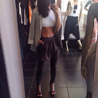 pants coat tank top shoes black strappy laced heels high heels harem formal black harem pants drop crotch pants
