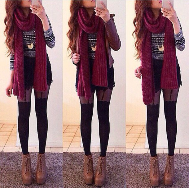 sweater heels scarf shorts jewelry tights shoes