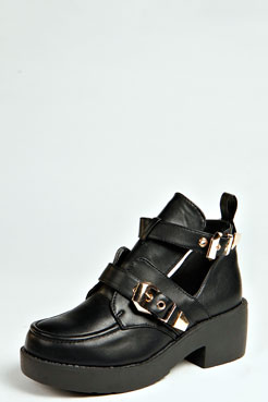 Lottie Gold Buckle Cut Out Flat Boot at boohoo.com