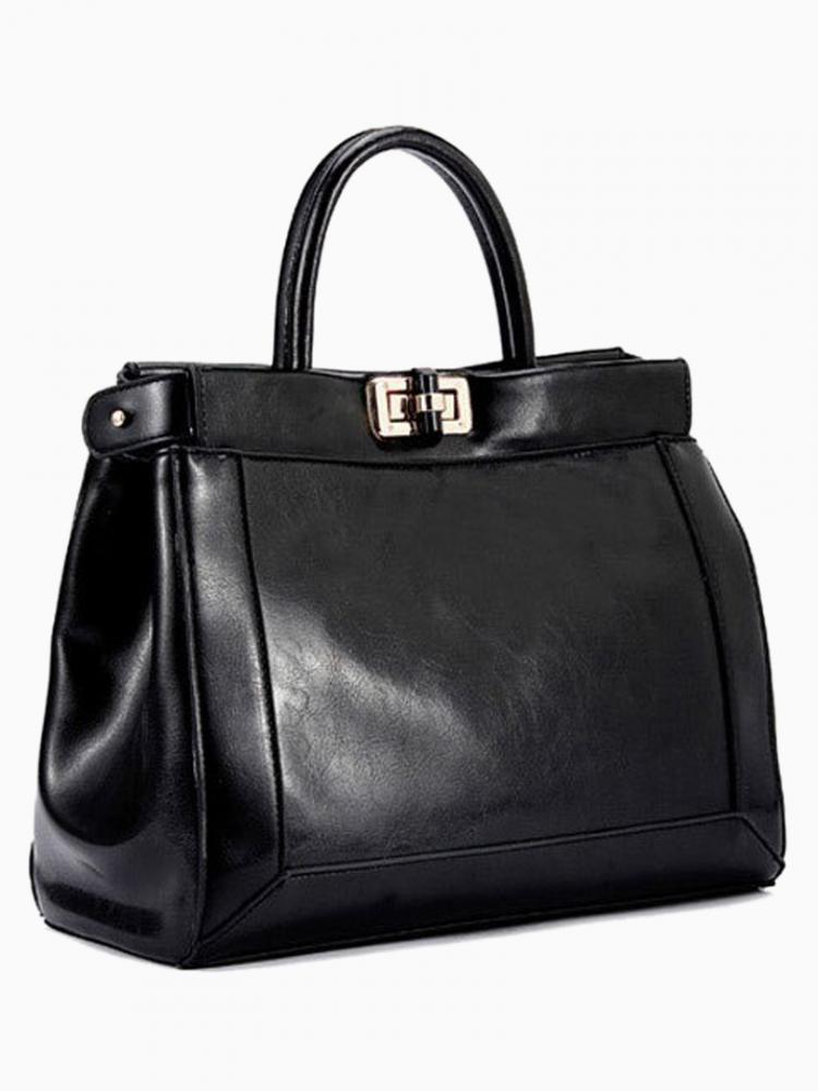 Metal Square Buckle Tote Bag In Black   Choies