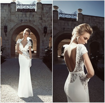 Vintage Sheath Sexy open back Lace Top wedding dress short sleeves bride dress V neckline custom size noiva Free shipping-in Wedding Dresses from Apparel & Accessories on Aliexpress.com