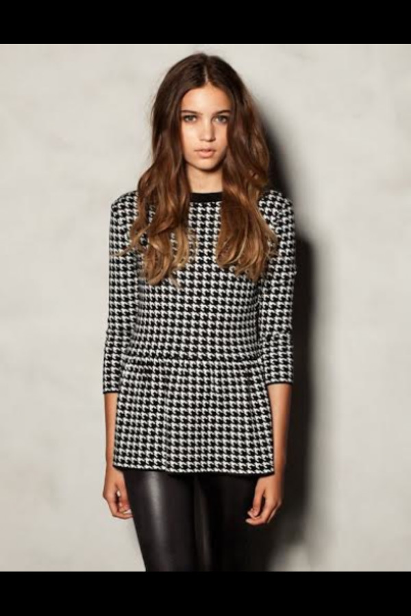 top classic houndstooth houndstooth peplum peplum top knitwear knit wear black and white pattern essentials