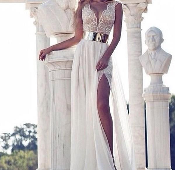 dress white wedding dress prom dress long dress formal long