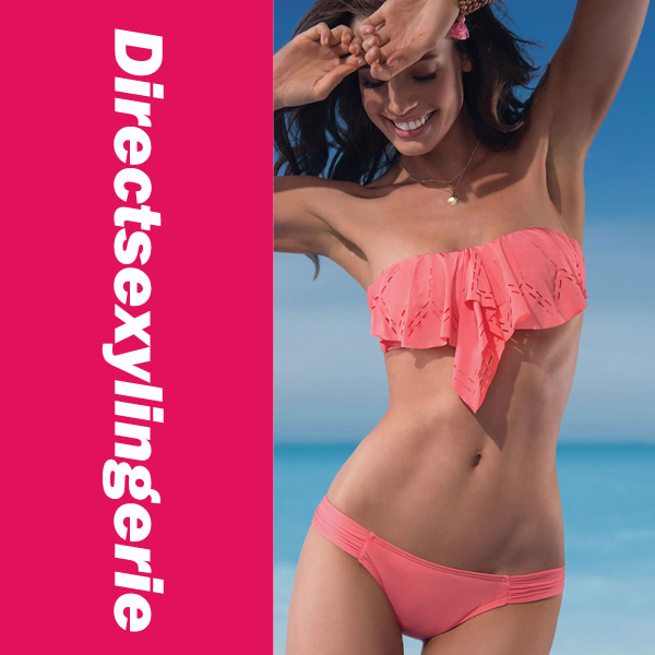 New Arrival 2013 Sexy Women's Bikini Set Pink Ruffled Trim Bandeau Top with Covered Panty  LC40608  Bikini Swimwear-in Bikinis Set from Apparel & Accessories on Aliexpress.com