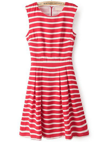 Red White Striped Sleeveless Pleated Tank Dress | Pariscoming