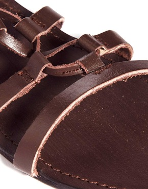 London Rebel | London Rebel Leather Ankle Gladiator Flat Sandals at ASOS