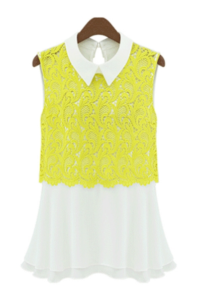 Floral Detailed Lace Overlay Chiffon Blouse - OASAP.com