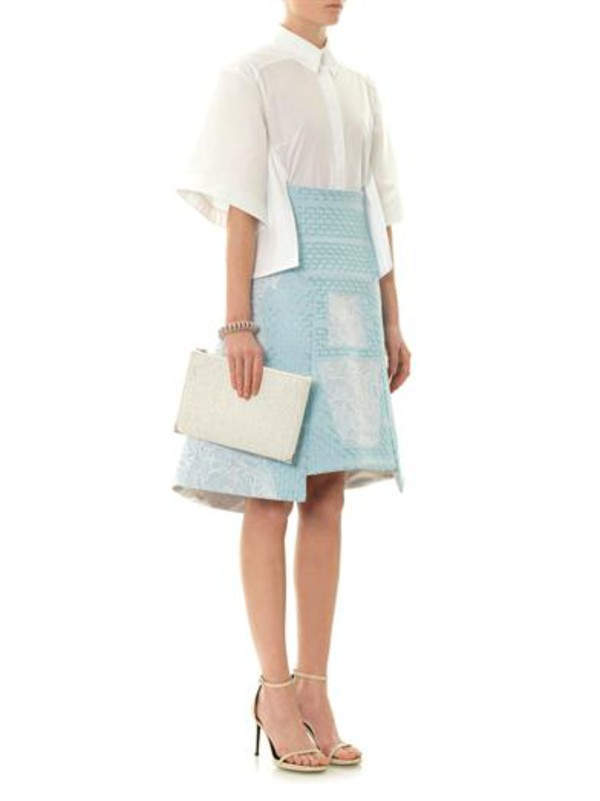 skirt orchid-embroidered a-line skirt peter pilotto radial cotton shirt blouse