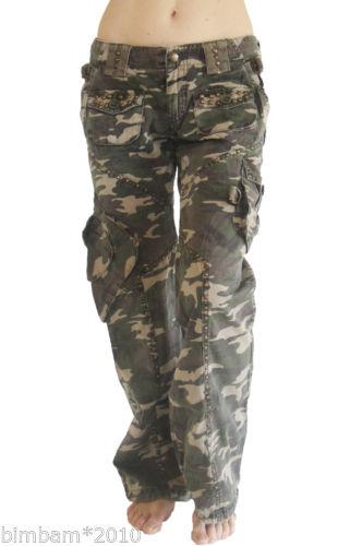 Women Green Camo Army Designer Fashion Cargo Pants s M L NWT   eBay