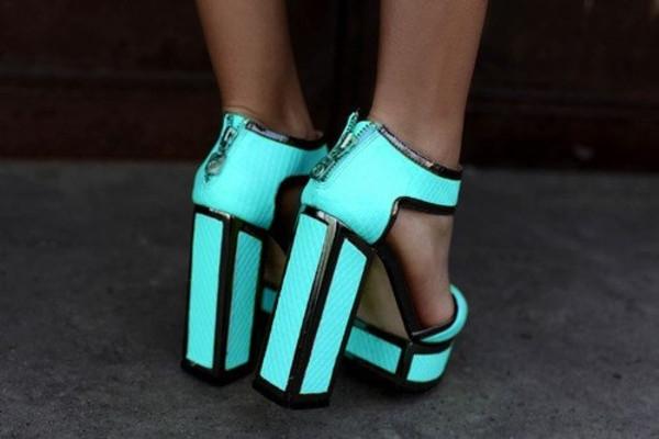 shoes blue black zip up mint aqua pretty sexy neon green neon high heels turquoise block heels
