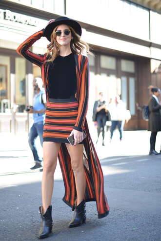 skirt top cardigan coat fashion week streetstyle chiara ferragni striped coat the blonde salad knitted skirt mini skirt stripes striped skirt black top top blogger lifestyle fedora