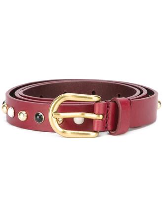 studded belt studded women belt leather red