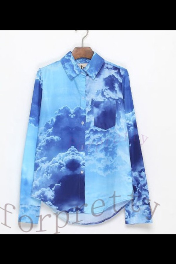 blouse white clouds print sky clouds
