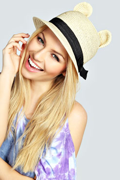 Rosie Ear And Ribbon Trim Straw Bowler Hat at boohoo.com