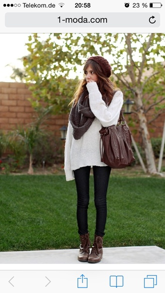 bag white sweater fall outfits sweater cozy sweater lether bag brown bag