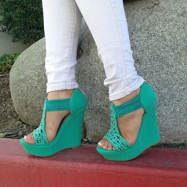 shoes heels wedges mint
