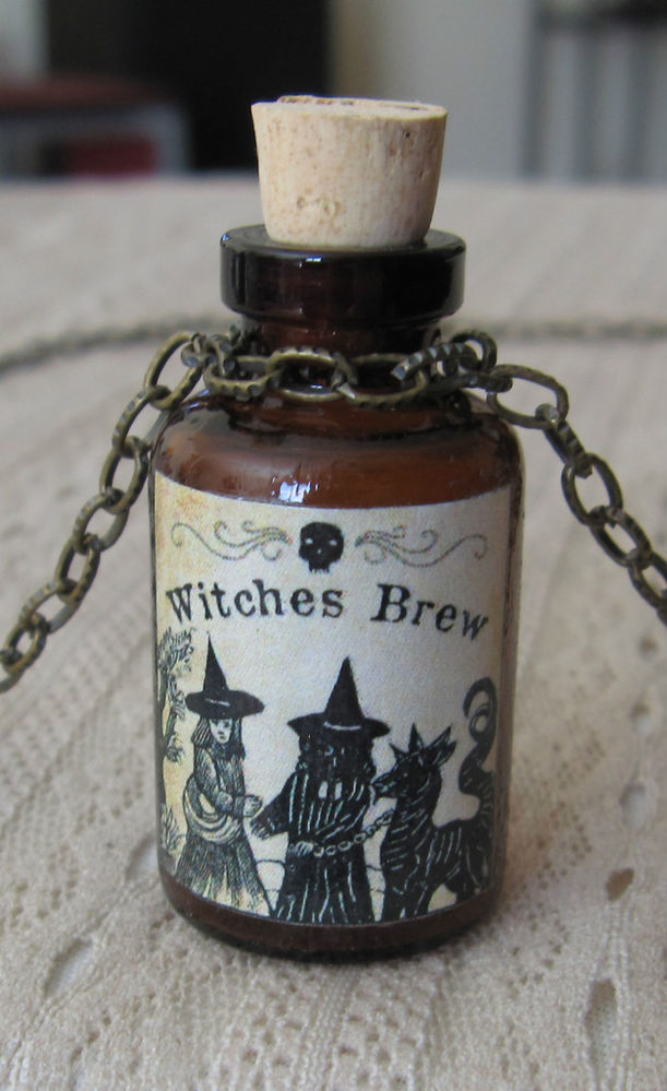 Witches Brew Potion Poison Bottle Necklace Pendant Apothecary Vial Halloween New | eBay