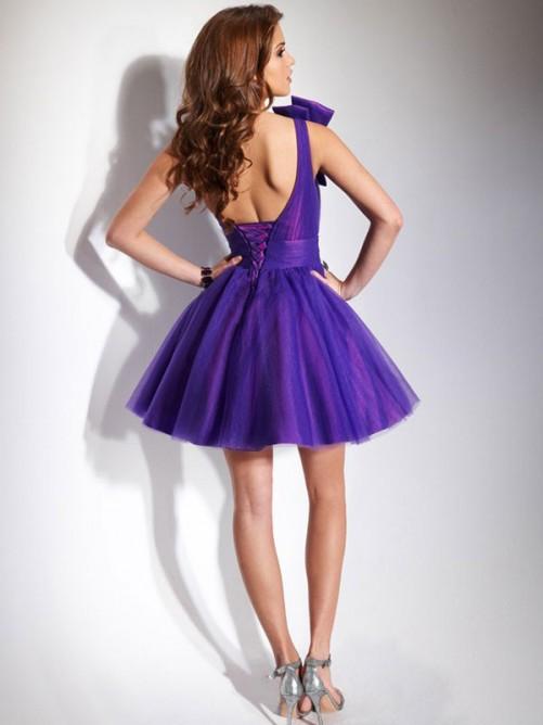 Ball Gown Sleeveless One-shoulder Beading Short/Mini Tulle Dresses