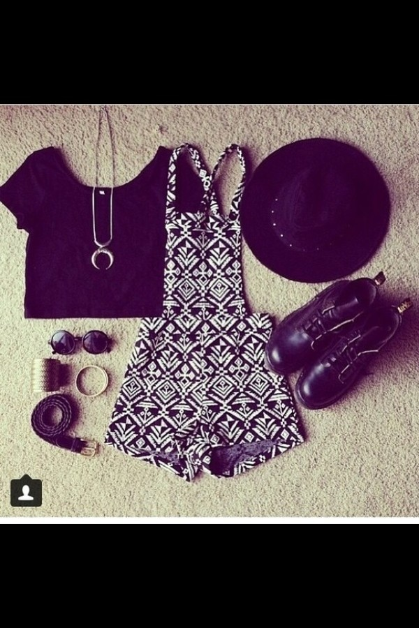 pants shirt shoes belt jewels hat sunglasses blouse nlack and white
