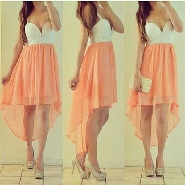 dress white orange cute