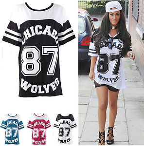 Women Oversized Chicago Print Baggy Top Ladies Fish Net Varsity Baseball T Shirt | eBay