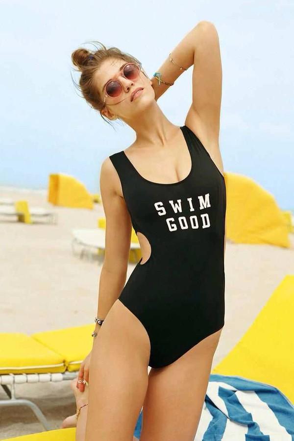 swimwear black onepiece