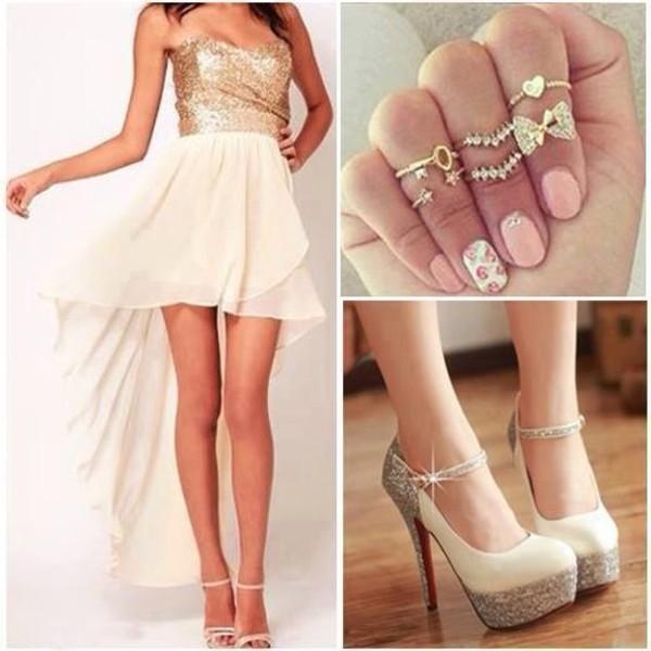 dress gold shoes jewels