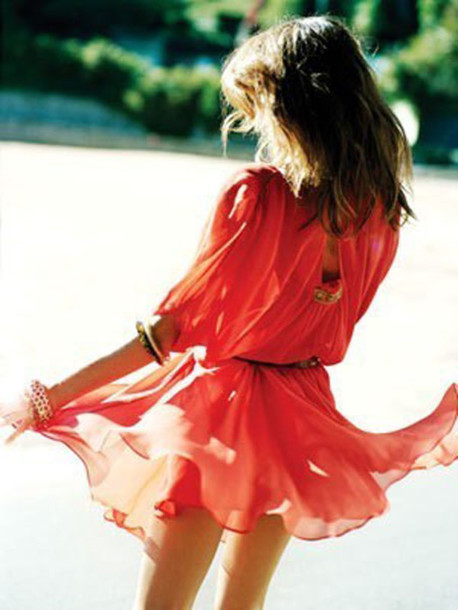 red dress dress salmon