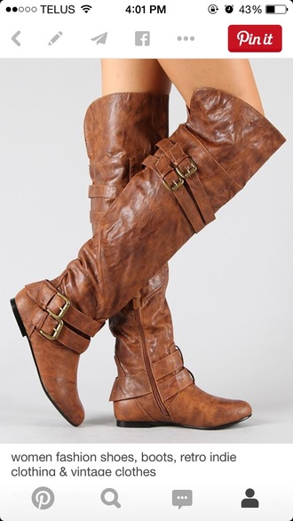 shoes boots tall brown flat