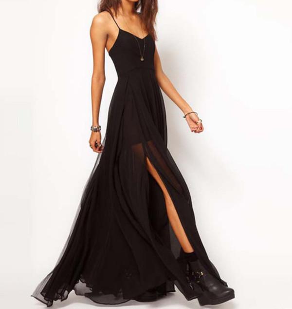 spaghetti strap goth emo thigh slit chiffon dress