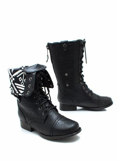 Tribal-Magic-Lace-Up-Boots BLACK - GoJane.com