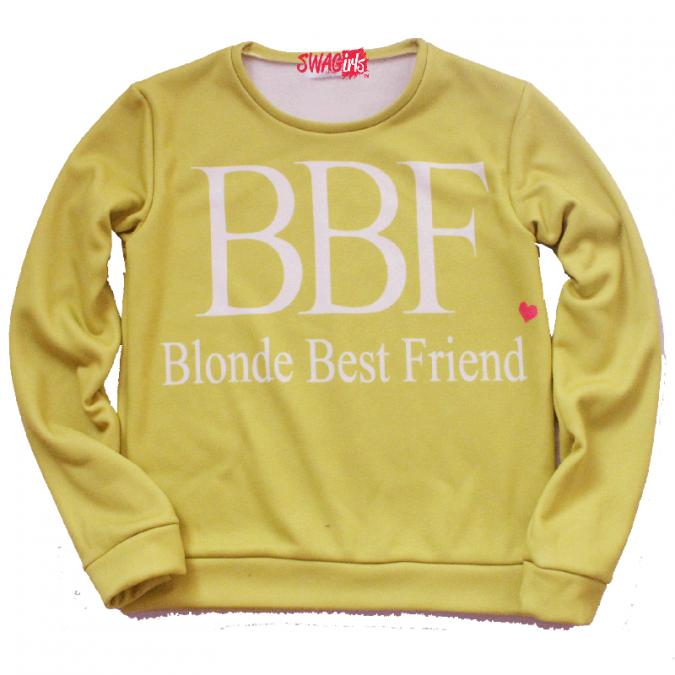 Blonde Best Friend fleece sweater - swagirls