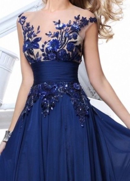 dress blue lace ball gown