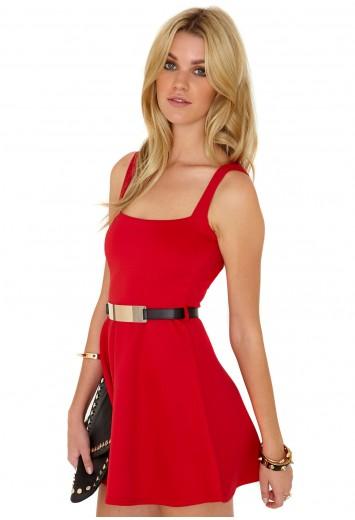 Elspeth Cut Out Back Belted Skater Dress - Dresses - Skater Dresses - Missguided
