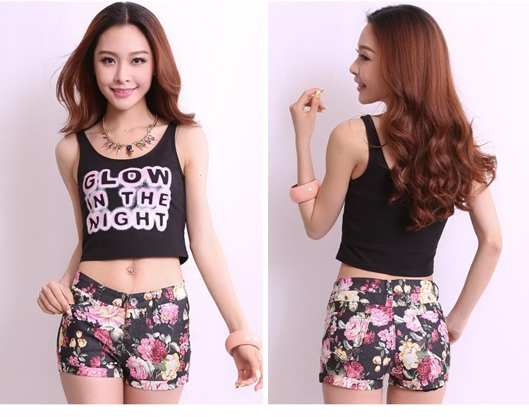 2013 Korean Fashion Floral Curled Hot Pants Casual Women Summer Shorts 6302-in Shorts from Apparel & Accessories on Aliexpress.com