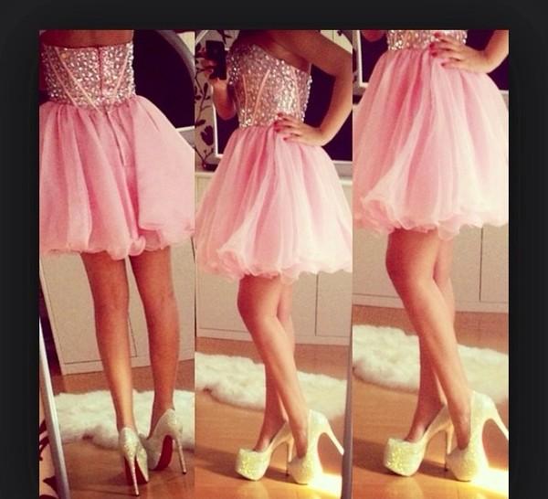 dress pink promgirl prom cute beautiful chiffon diamonds short prom dress pretty baby pink short dress