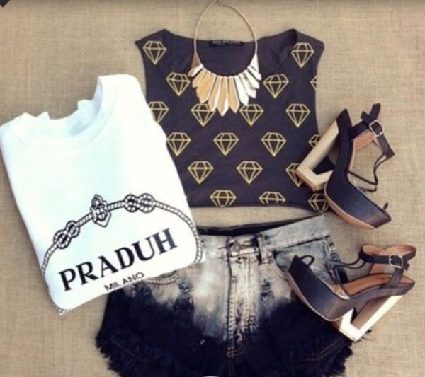 t-shirt praduh milano white shirt classy black tank top shorts jewels shoes