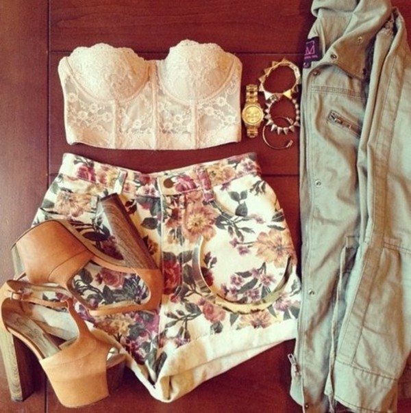 tank top flowered shorts shorts High waisted shorts bustier bustier jewels shoes denim jacket leather jacket jacket