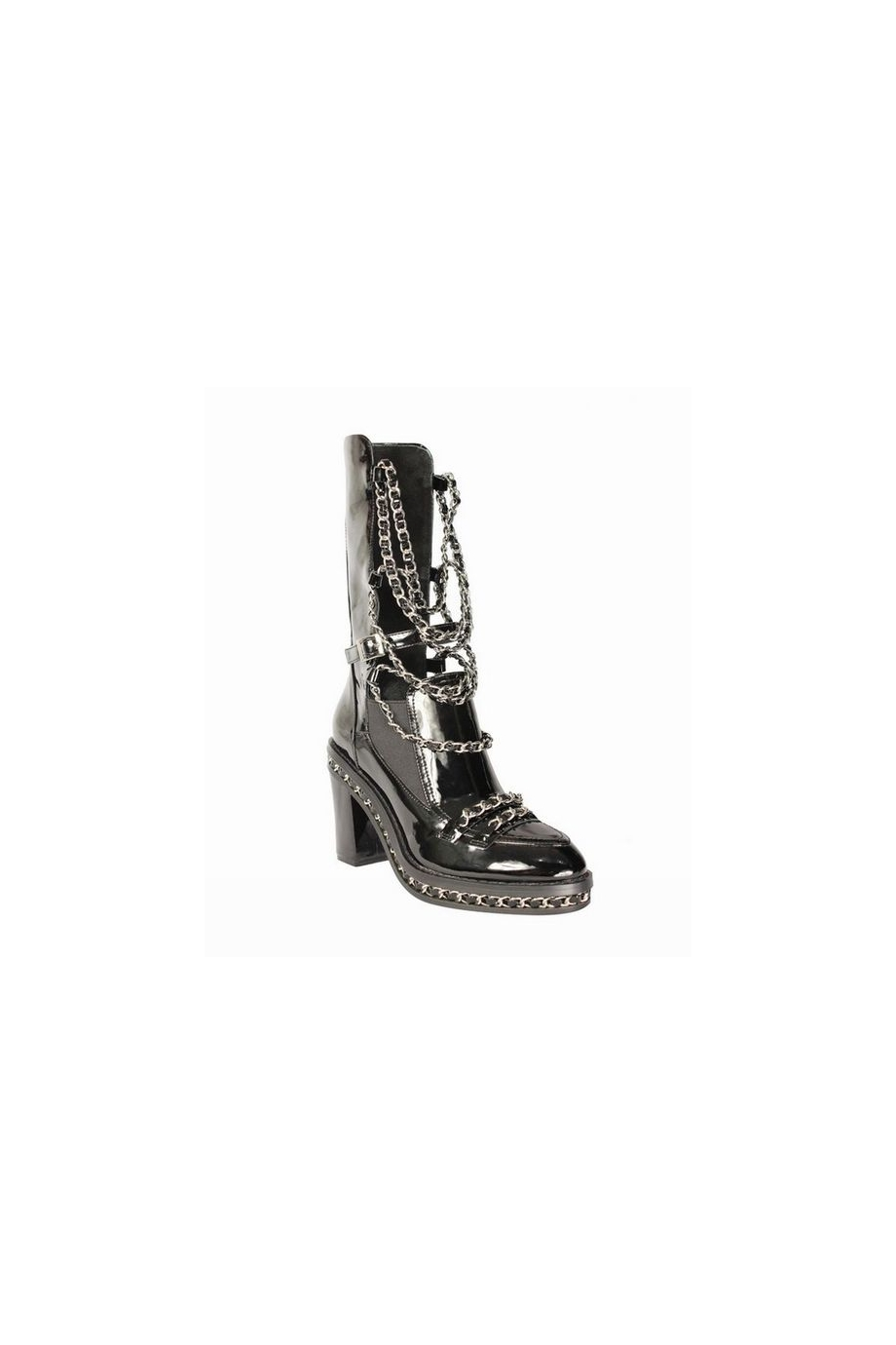 *Exclusive - FREJA Chain Embellished Biker Ankle Boots |Black| In Shoes | JESSICABUURMAN [7050] - $149.00 : JESSICABUURMAN.COM