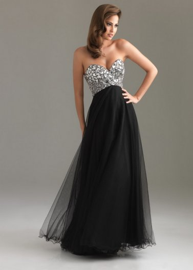 Rhinestone Beaded Top Black Long Strapless Prom Dress 2014 [Night Moves 6411 Black] - $172.00 : Prom Dresses 2014 Sale, 70% off Dresses for Prom