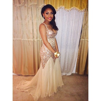 dress prom dress gold dress gold and white dress mermaid prom dress formal event outfit sex and the city gold cream jewels prom champagne dress 2k15 prom