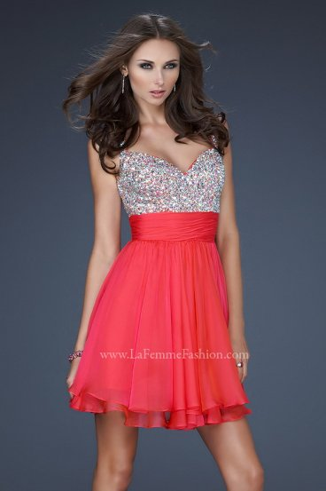 Dazzling Watermelon Short Layered Sequin Top Prom Dress [La Femme 16813 Watermelon] - $165.00 : Prom Dresses 2014 Sale, 70% off Dresses for Prom