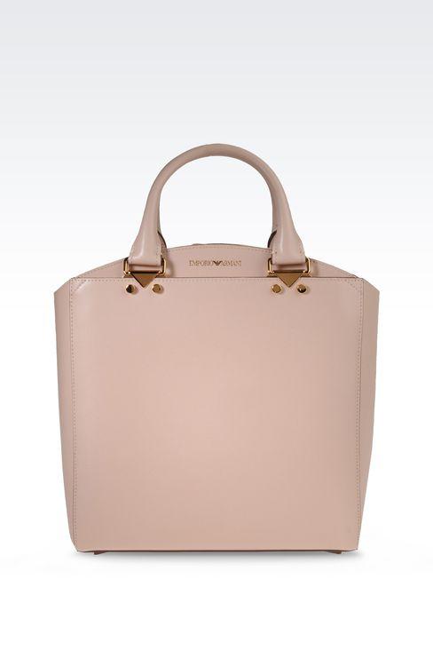 Emporio Armani Women Shopper - SMALL TOTE BAG IN BOARDED LEATHER Emporio Armani Official Online Store
