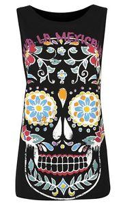 Primark Black Sugar Skull Floral Pint Retro T Shirt Top Tee Vest Festival 6-20   eBay