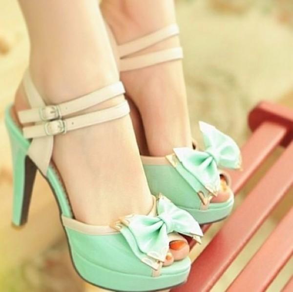 shoes heels mint bow pastel bow mint high heels sandals