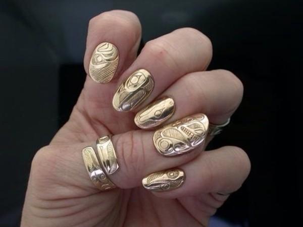 nail polish gold nails jewelry gold nails fake nails