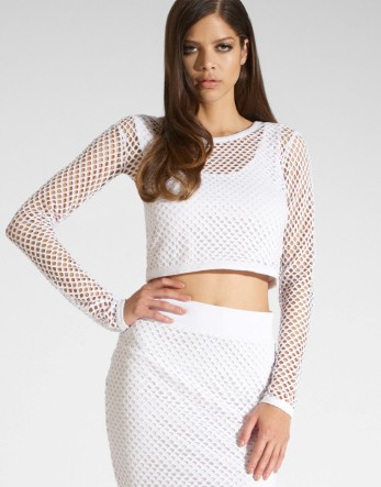 Kardashian Long Sleeve String Crop Top - Lipsy