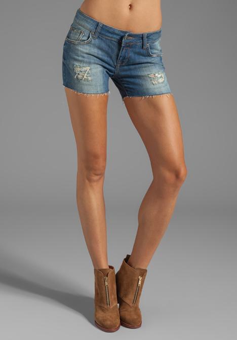ANINE BING Distressed Cut Off Shorts in Vintage Wash - ANINE BING