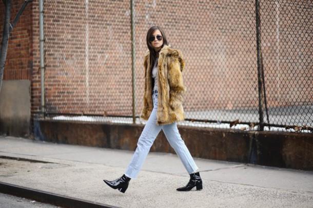 we wore what blogger jeans jacket beige fur jacket
