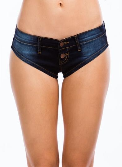 Denim-Talk-Double-Button-Shorts DKBLUE - GoJane.com